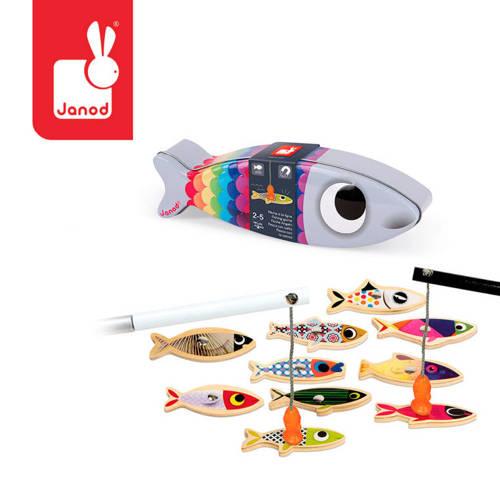 Janod - Zestaw do łowienia magnetyczny drewniany 10 rybek Sardynka