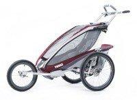 THULE Chariot CX1 czerwony,  pojedynczy wózek do biegania + zestaw rowerowy