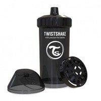 Twistshake - Kubek niekapek z mikserem do owoców, czarny 360ml
