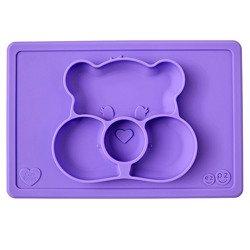 EZPZ - Silikonowy talerzyk z podkładką 2w1 Care Bears™ Mat Miśka Share Bear, fioletowy