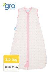 Gro Company - Śpiworek Grobag Pink Hearts grubość 2,5 tog Jacquard, 18-36 miesięcy