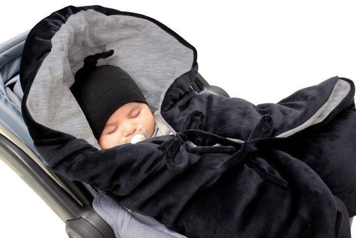 7AM - Śpiworek do wózka i fotelika samochodowego NIDO Velour Black - L