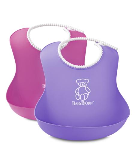 BABYBJORN - 2 śliniaki - różowy / fioletowy