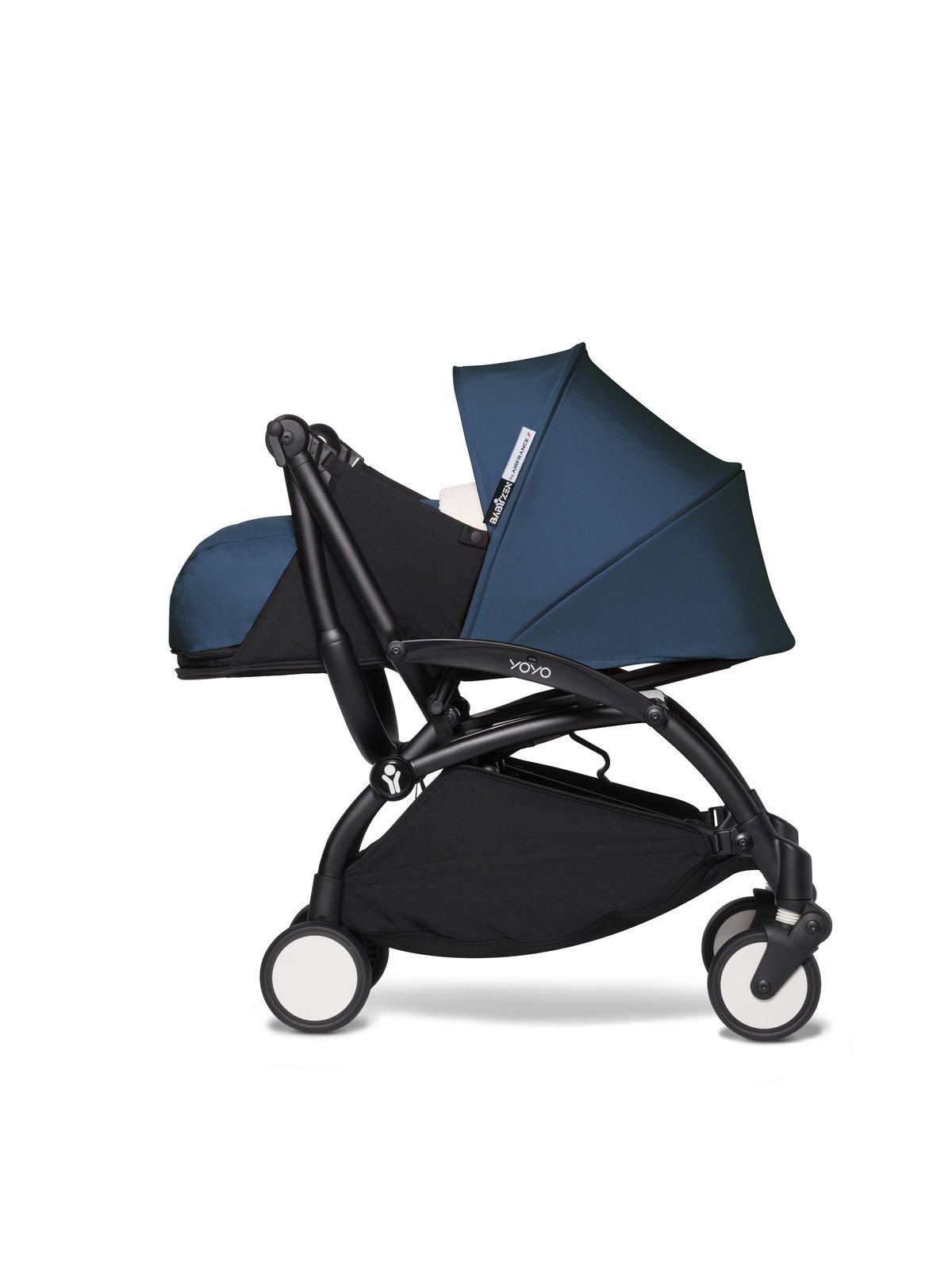 BABYZEN YOYO² - kompletny zestaw 0+ i 6+ czarna rama/tapicerka Air France Blue