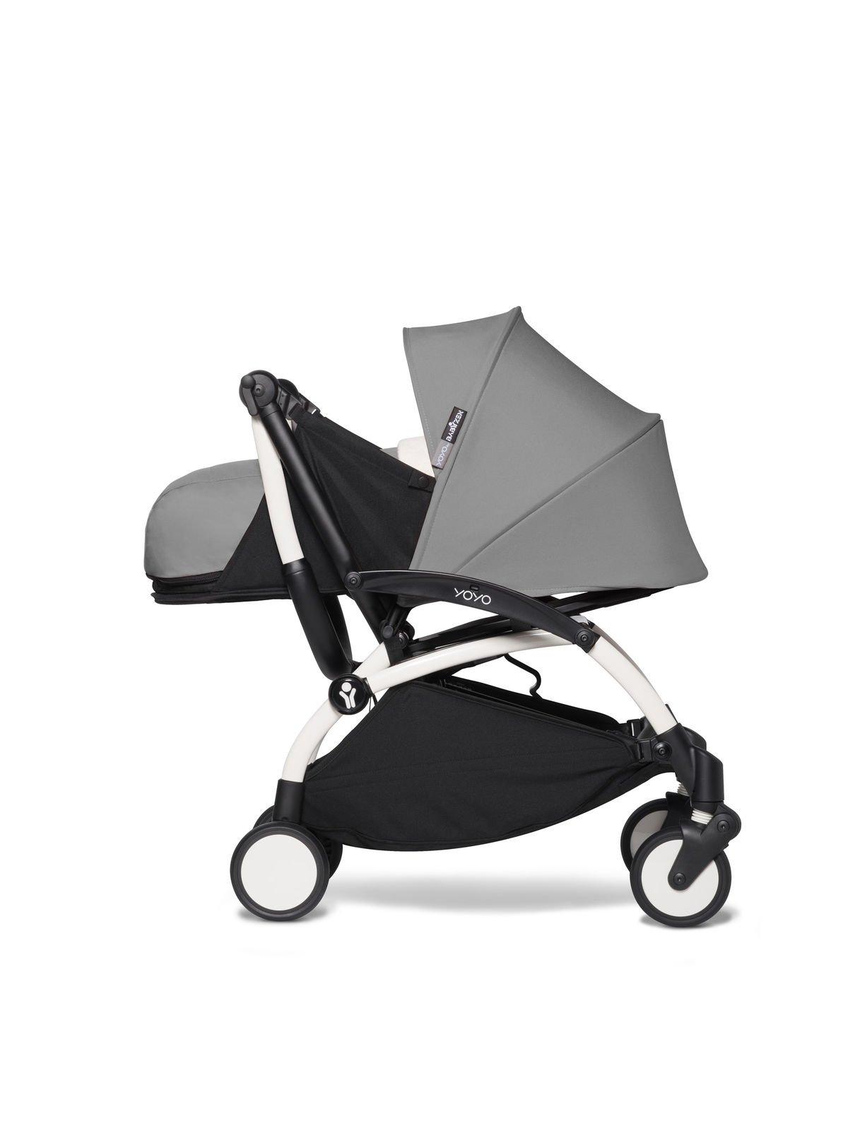 Babyzen YOYO² - kompletny zestaw 0+ i 6+ biała rama/tapicerka Grey/fotelik samochodowy/adaptery