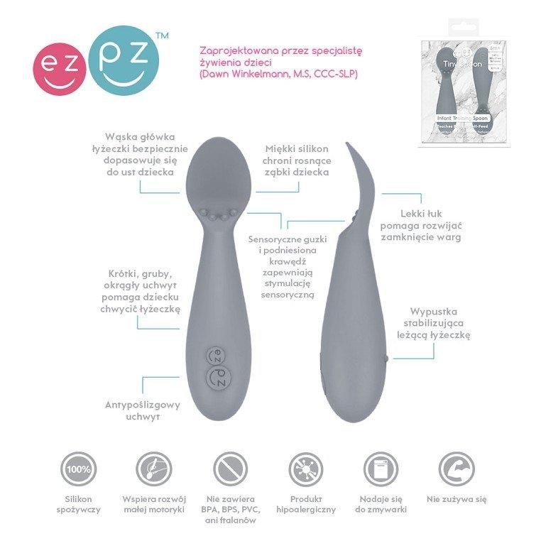 EZPZ - Silikonowa łyżeczka Tiny Spoon 2 szt., szara
