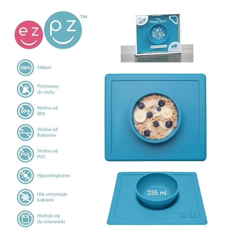 EZPZ - Silikonowa miseczka z podkładką 2w1 Happy Bowl niebieska