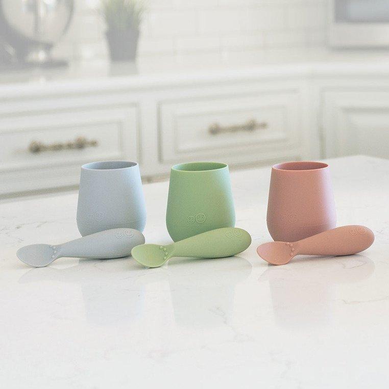 EZPZ - Silikonowy kubeczek Tiny Cup, pastelowa szarość