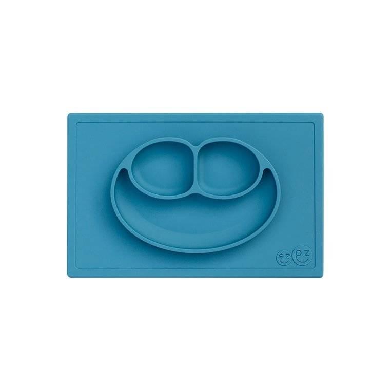 EZPZ - Silikonowy talerzyk z podkładką 2w1 Happy Mat niebieski