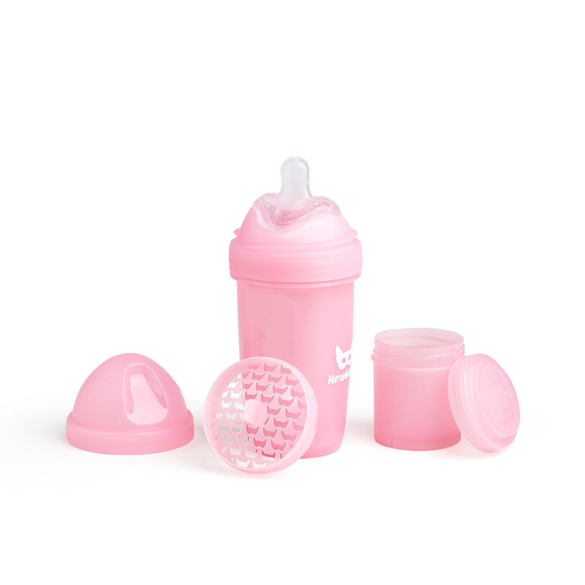 Herobility - butelka antykolkowa Herobottle 240 ml, różowa + smoczek M (2 m+)