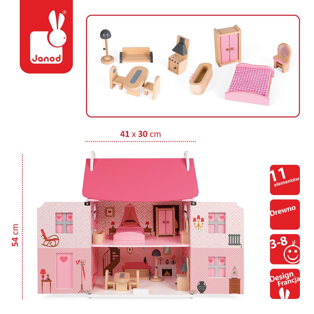 Janod - Domek dla lalek z 11 meblami