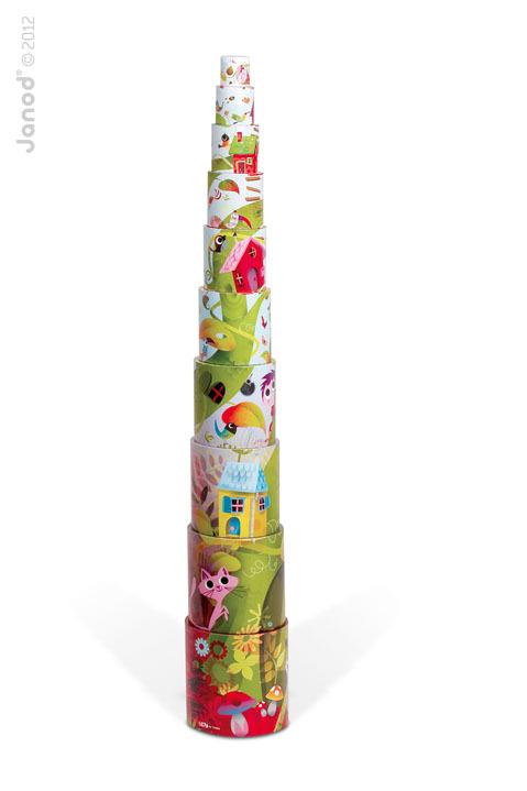 Janod - Piramida wieża 10 kostek Magiczne drzewo