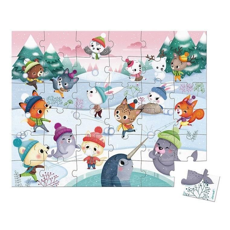 Janod - Puzzle w walizce Zabawa na śniegu 36 elementów 4+
