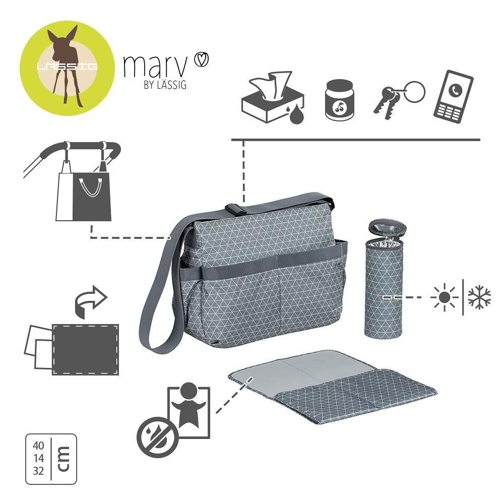 Lassig - Marv Torba z akcesoriami Shoulder bag Tiles grey
