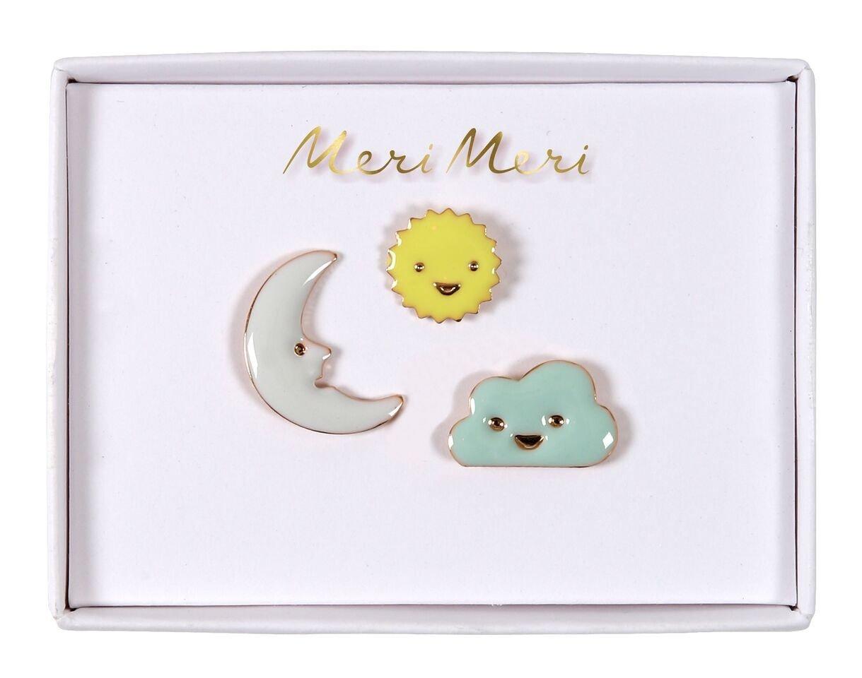 Meri Meri – Przypinki Słoneczko, księżyc i chmurka