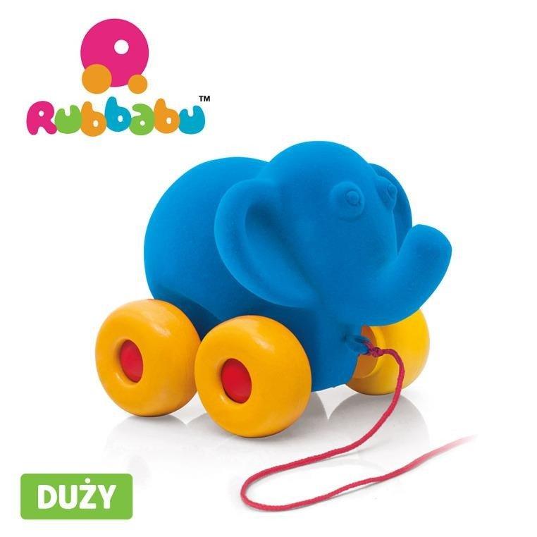 Rubbabu -  Słoń do ciągnięcia sensoryczny niebieski