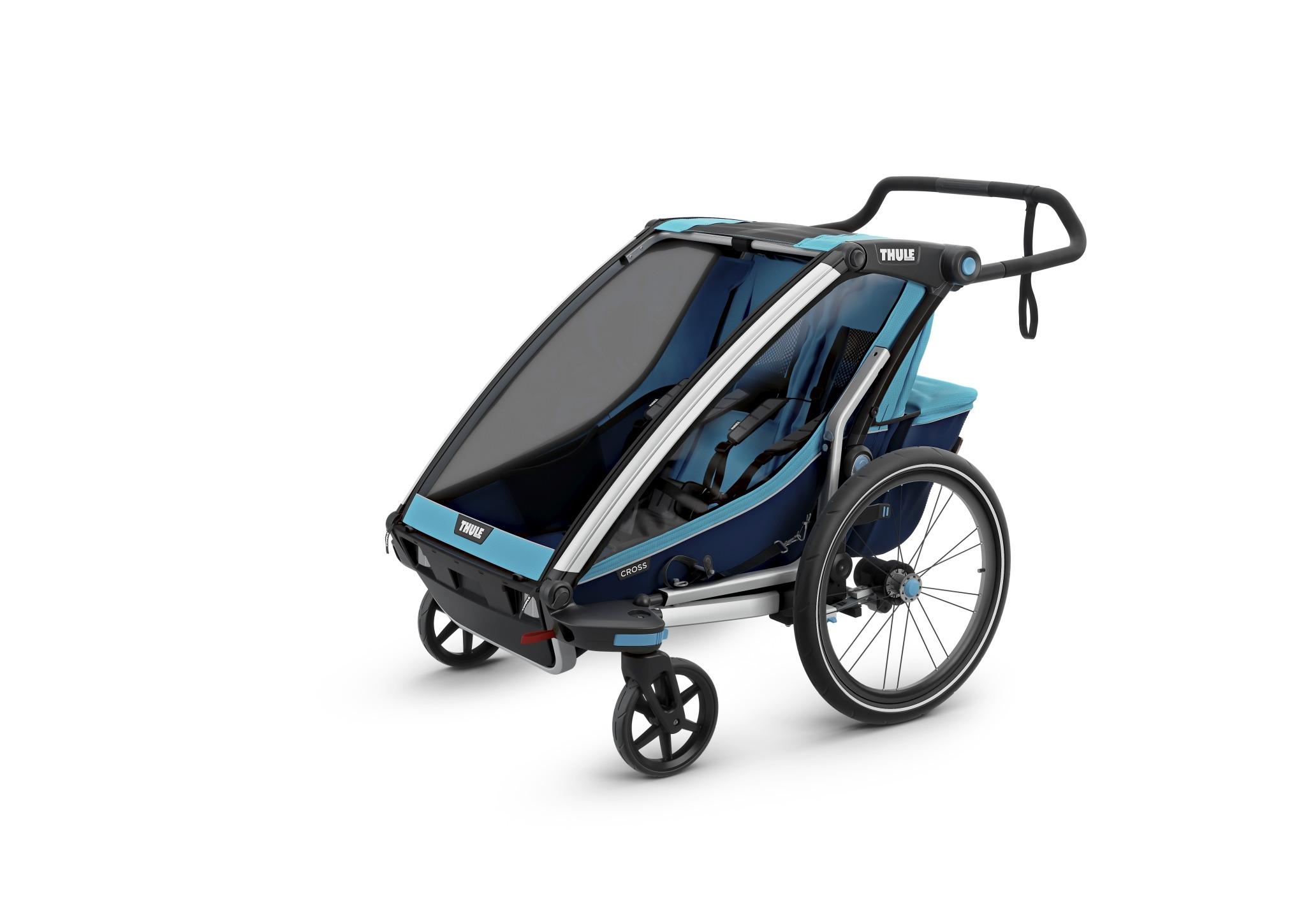 Wózek do biegania, podwójny - THULE Chariot Cross 2 - niebieski/granatowy