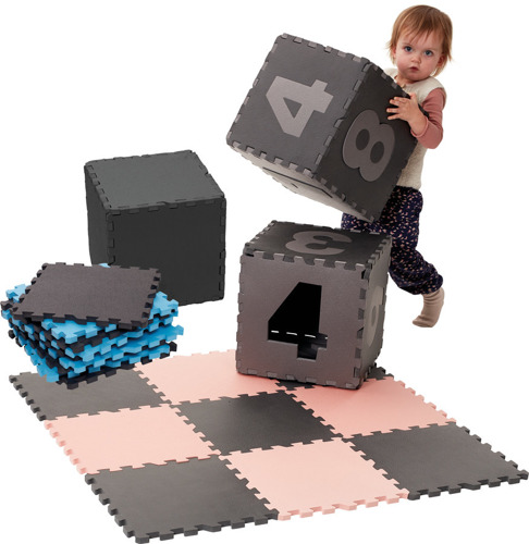 Baby Dan – Mata piankowa do zabawy, szara/cyfry