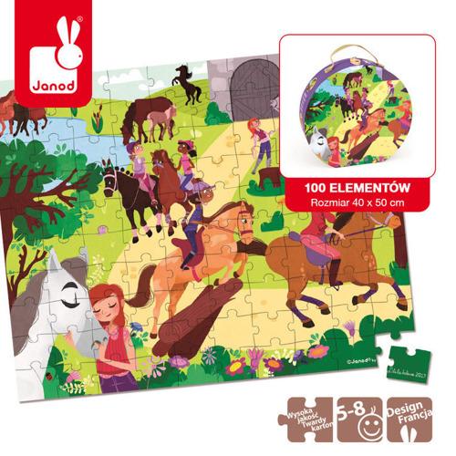 Janod - Puzzle w walizce Koniki 100 elementów