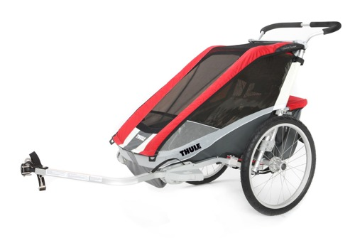 THULE Chariot Cougar 1 czerwony,  pojedynczy wózek do biegania + zestaw rowerowy