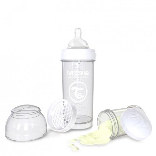Twistshake - Antykolkowa butelka do karmienia, biała 260ml