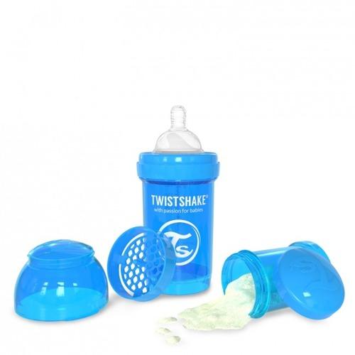 Twistshake - Antykolkowa butelka do karmienia, niebieska 180ml