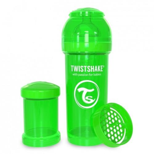 Twistshake - Antykolkowa butelka do karmienia, zielona 260ml